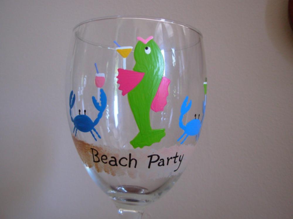 Beach Party Handpainted Wine Glass