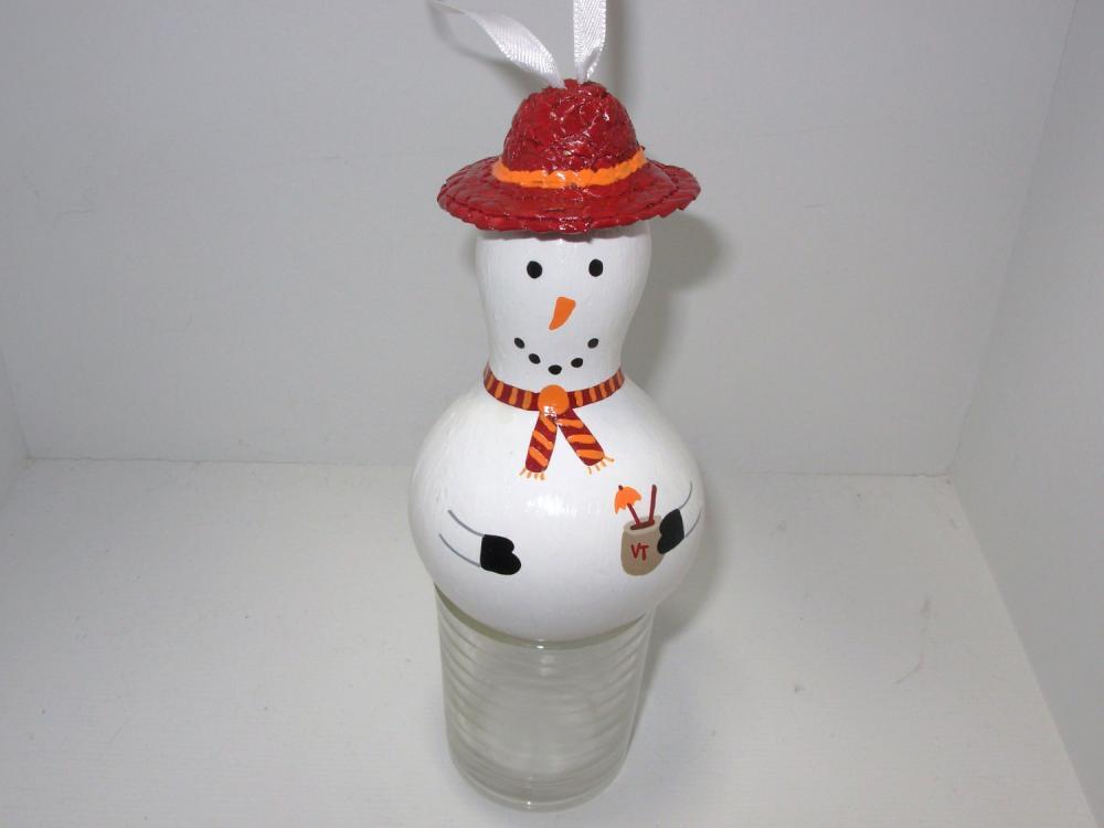 Handpainted Va Tech Gourd Snowman Ornament
