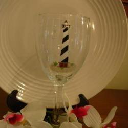 Cape Hatteras Lighthouse Wine Glass Handpainted Personalized