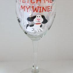 Dog Wine Glass Handpainted Personalized Fetch My Wine