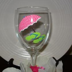 Beach Umbrella and Flip Flop Wine Glass Handpainted Personalized