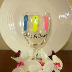 Flip Flop Wine Glass Handpainted Life's A Beach