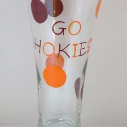 Va Tech Pilsner Glass Handpainted Hokie Personalized