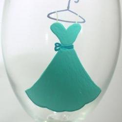 Bridesmaid Wine Glass Handpainted