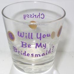 Bridesmaid Shot Glass Handpainted Personalized