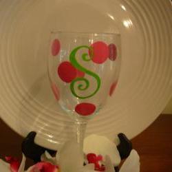 Initial Bridesmaid Wine Glass