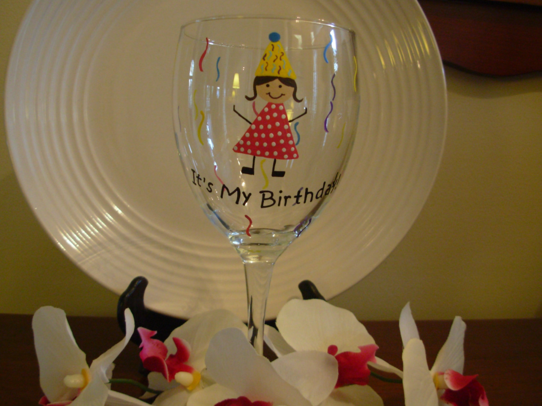 Birthday Wine Glass Handpainted Its My On Luulla