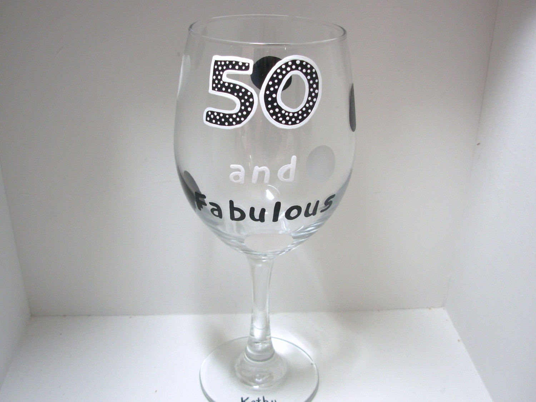 50th Birthday Wine Glass Handpainted Oversized On Luulla