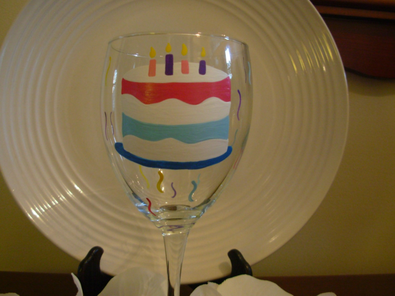 Birthday Wine Glass Handpainted Cake Personalized On Luulla