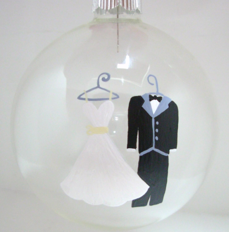 Wedding Christmas Ornament Handpainted Glass Ball on Luulla